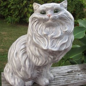 "VTG Gray Persian Cat Ceramic Figure Big 14"" Kitty"